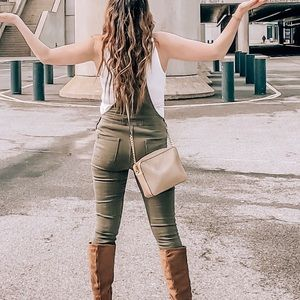 Jeans - Olive green distressed overalls